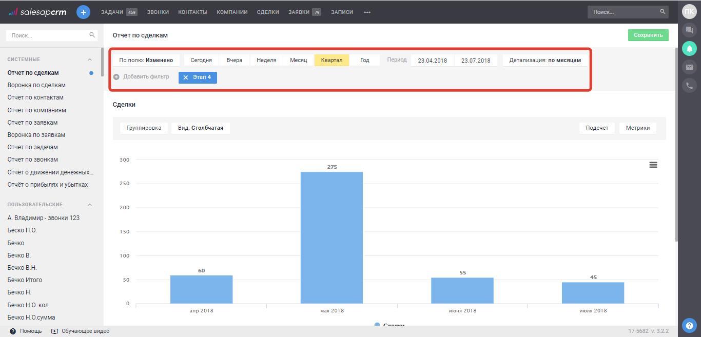 Как создать отчет по количеству и сумме закрытых сделок в SalesapCRM